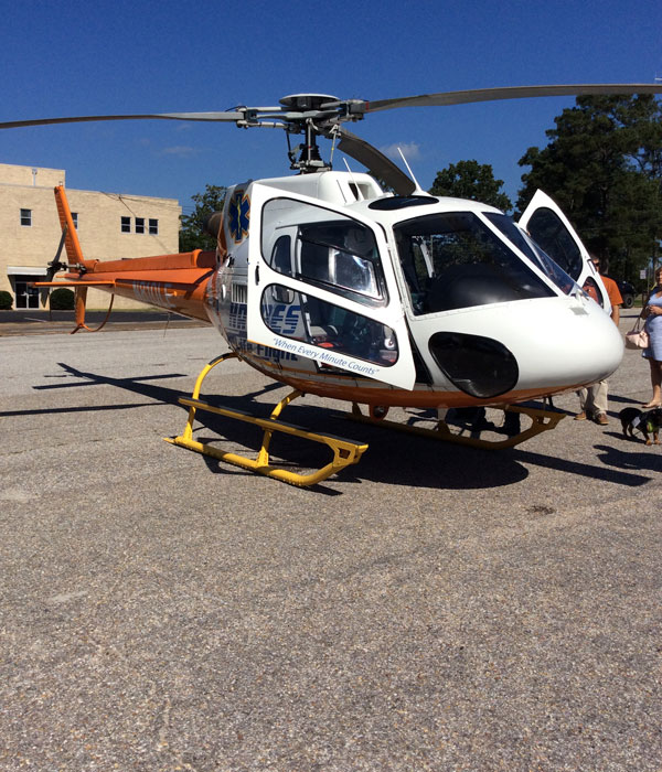 Members of Haynes LifeFlight were on the scene to show those in attendance an up close view of the helicopter.
