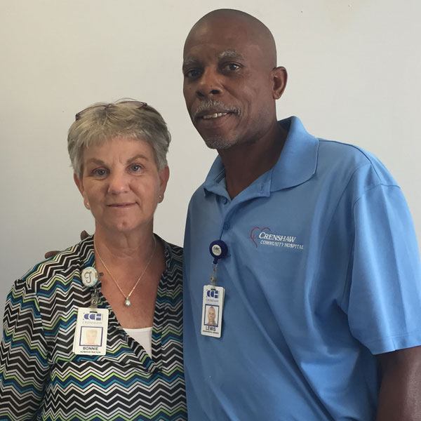 Lewis May was recently named  Employee of the Quarter at the Crenshaw Community Hospital for his work ethic and personality.  May is pictured with Bonnie Trotter, Director of Patients and Public Relations (Photo by Beth Hyatt).