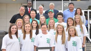 The Brantley Bulldogs softball team was recently honored by the Crenshaw County Commission for their third consecutive championship win (Photo by Beth Hyatt).